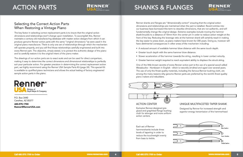Renner Piano Action Parts, Hammerheads and Piano Technician Tools Catalog